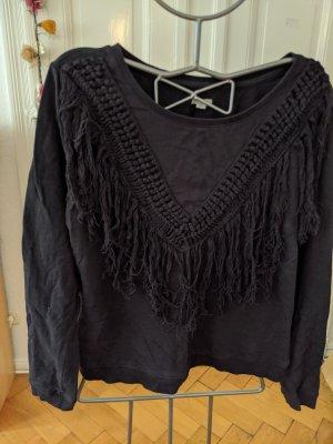 schwarzer Fransen Pullover folk style