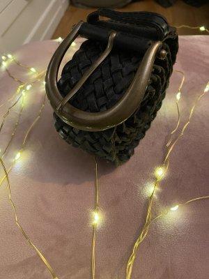 Cinturón trenzado color bronce-negro Cuero