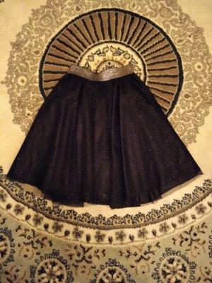 Zara Tiulowa spódnica czarny-srebrny