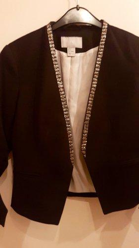 Schwarzer H&M Blazer mit Glitzer am Kragen