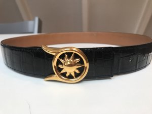 Hermès Lederen riem zwart-goud
