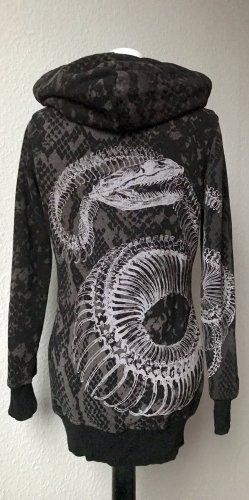 Yakuza Maglione con cappuccio nero-grigio chiaro