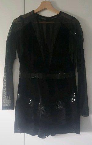 Schwarzer Jumpsuit mit Pailetten, Glitzer, Bändern und Netz von Boohoo