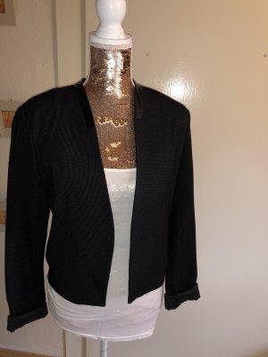Schwarzer Kurz Blazer mit leichten weißen Nadelstreifen Muster