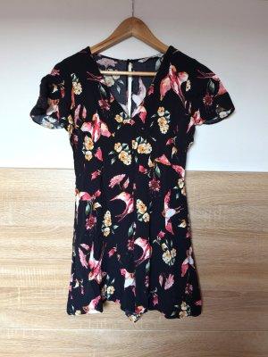 Schwarzer kurzer Jumpsuit, Blumen Overall von Zara, Gr. M (NEUw.)