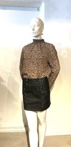 Schwarzer Leder-Minirock mit Reißverschlüssen, von My Collection