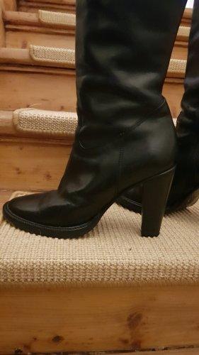 Schwarzer Leder Stiefel mit hohem Schaft von PREGO