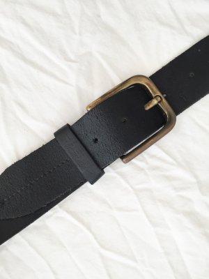 Schwarzer Ledergürtel mit bronzefarbener Schnalle Größe 105