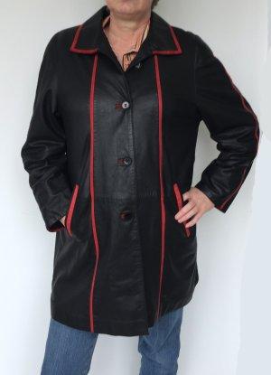 no name Skórzany płaszcz czarny-czerwony Skóra