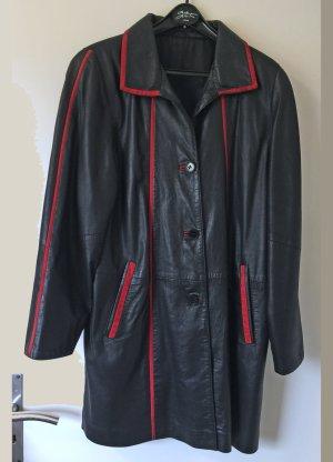 schwarzer Ledermantel mit roten Applikationen, Größe 38