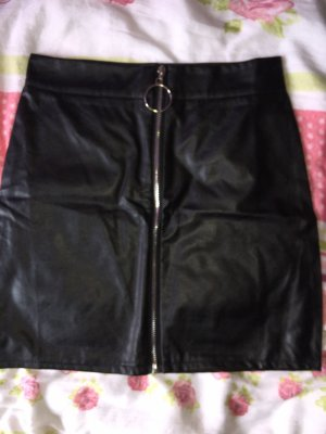 Leather Skirt black-silver-colored