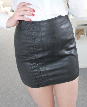 Amisu Leather Skirt black polyurethane