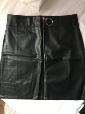 Forever 21 Leather Skirt black-silver-colored