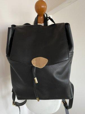 Schwarzer Lederrücksack