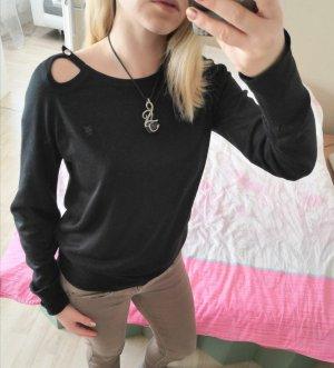 Schwarzer leichter Pullover mit Seitenausschnitt
