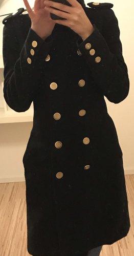 Mango Abrigo de invierno negro-color oro