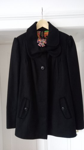 I saw it first Wool Coat black-red wool