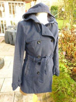 schwarzer Mantel Wolle Gr. 36