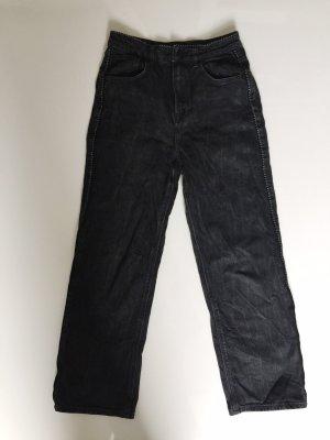 Schwarzer Massimo Dutti High waist, Straight leg Jeans