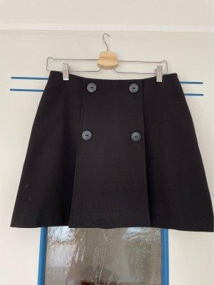 Schwarzer Minirock A-Form mit Knöpfen