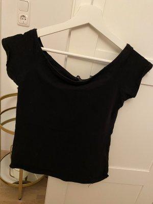 Schwarzer Off-Shoulder BASIC-Shirt