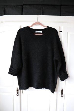 Schwarzer Oversize Pullover von Zara Größe S