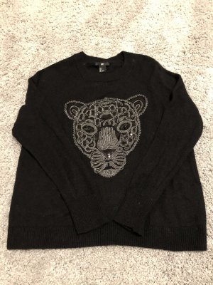 H&M Wool Sweater black-silver-colored