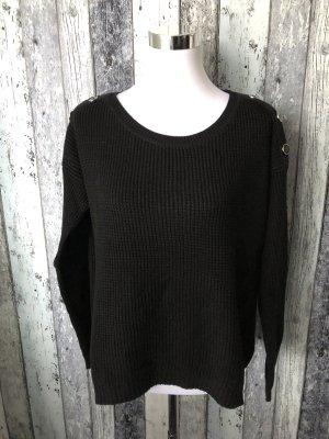 schwarzer Pulli / Pullover leicht durchsichtig von Yessica - Gr. L
