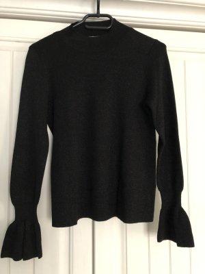 Schwarzer Pullover mit Glitzerfäden, gesomkte Ärmel, Pullover chic