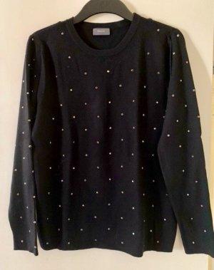 Schwarzer Pullover mit Glitzersteinchen