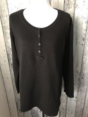 schwarzer Pullover mit Knopfleiste von B.P.C. - Bonprix Collection - Gr. 44/46 - neu