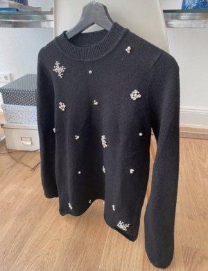 Schwarzer Pullover mit Perlen von Fashion Union