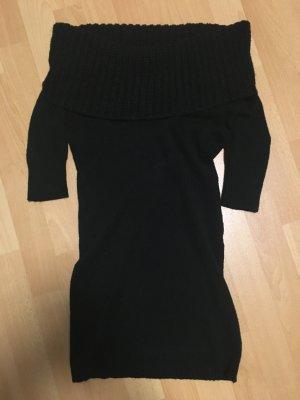 schwarzer Pullover mit Rollkragen Raffung Off-Shoulder