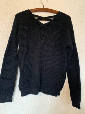 Schwarzer Pullover mit Rückendetail