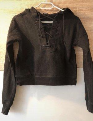 Schwarzer Pullover mit Schnüren/ Sweater Sweatshirt Größe XS mit Kapuze
