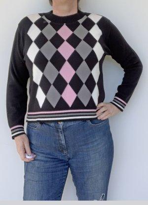 schwarzer Pullover, rosa-grau-weiße Rauten, Größe M
