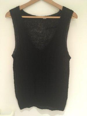 H&M Sweter bez rękawów z cienkiej dzianiny czarny Moher