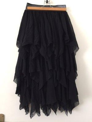 Fringed Skirt black cotton