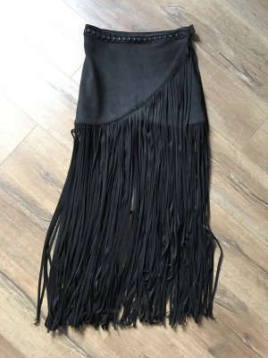 H&M Spódnica z frędzlami czarny