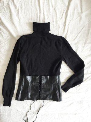 Schwarzer Rollkragenpullover 100 % Wolle  mit breitem Gürtel / Corsage aus Kunstleder