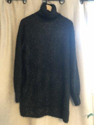 Schwarzer Rollkragenpullover / Kleid mit Glitzerfäden