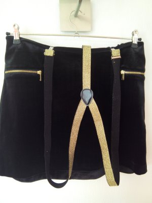 H&M Pinafore skirt black-gold-colored