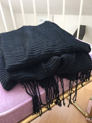 Pieces Fringed Scarf black