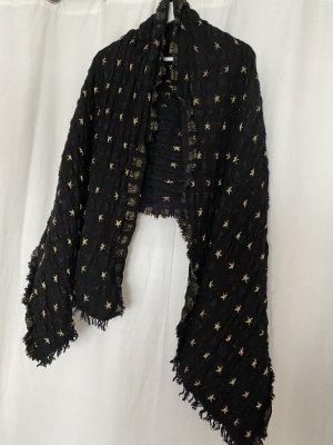Zara Bufanda de lana negro-color oro
