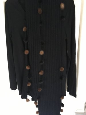 Knitted Scarf black-brown acetate