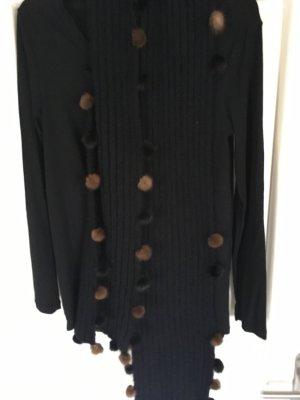 Écharpe en tricot noir-brun acétate