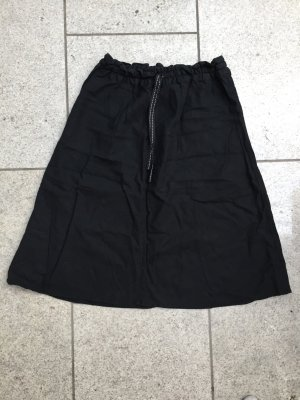 H&M Falda de lino negro-blanco Lino