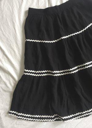 Mint&berry Spódnica z koła czarny-biały Wiskoza