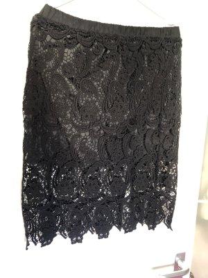 Promod Koronkowa spódnica czarny