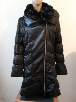Mandarin Pikowany płaszcz czarny